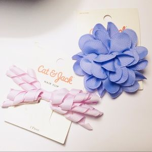 Girls' Lavender Rose and Purple Ribbon Hair Clips